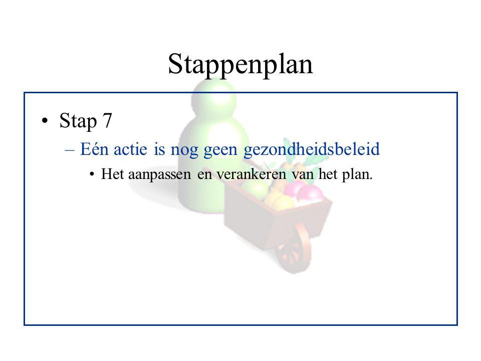 Stappenplan Stap 7 –Eén actie is nog geen gezondheidsbeleid Het aanpassen en verankeren van het plan.