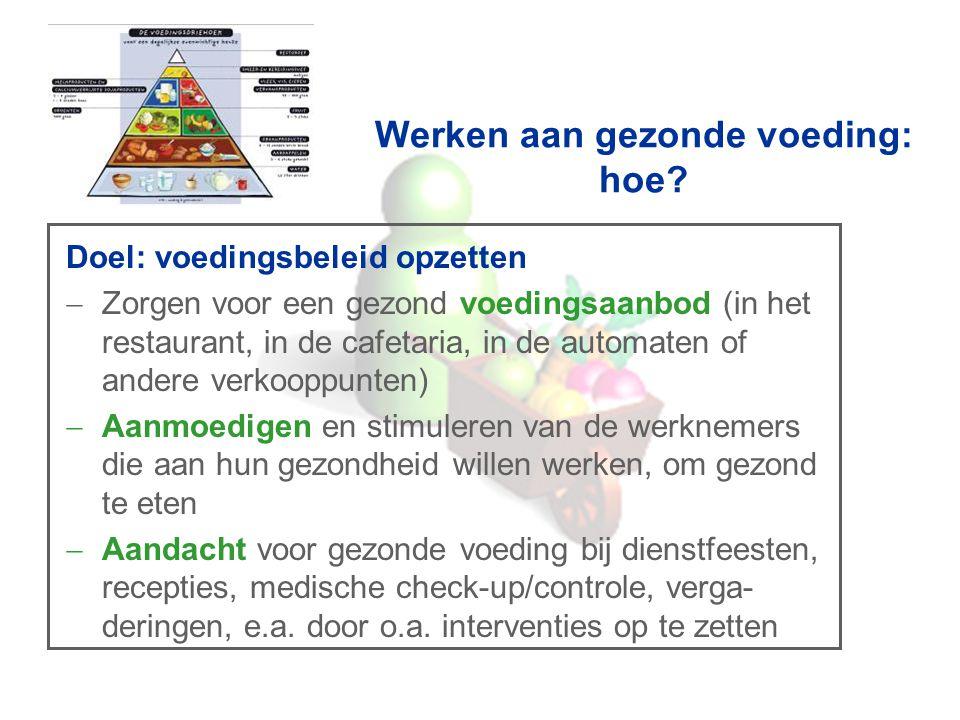 Werken aan gezonde voeding: hoe? Doel: voedingsbeleid opzetten  Zorgen voor een gezond voedingsaanbod (in het restaurant, in de cafetaria, in de auto