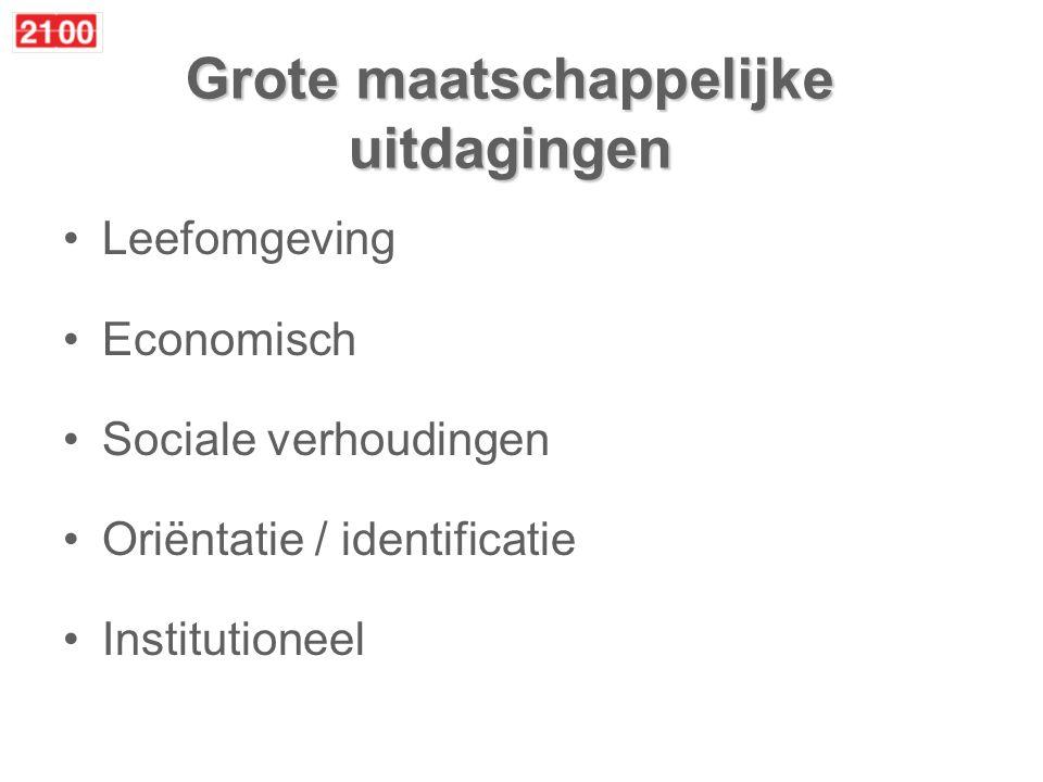 Grote maatschappelijke uitdagingen Leefomgeving Economisch Sociale verhoudingen Oriëntatie / identificatie Institutioneel