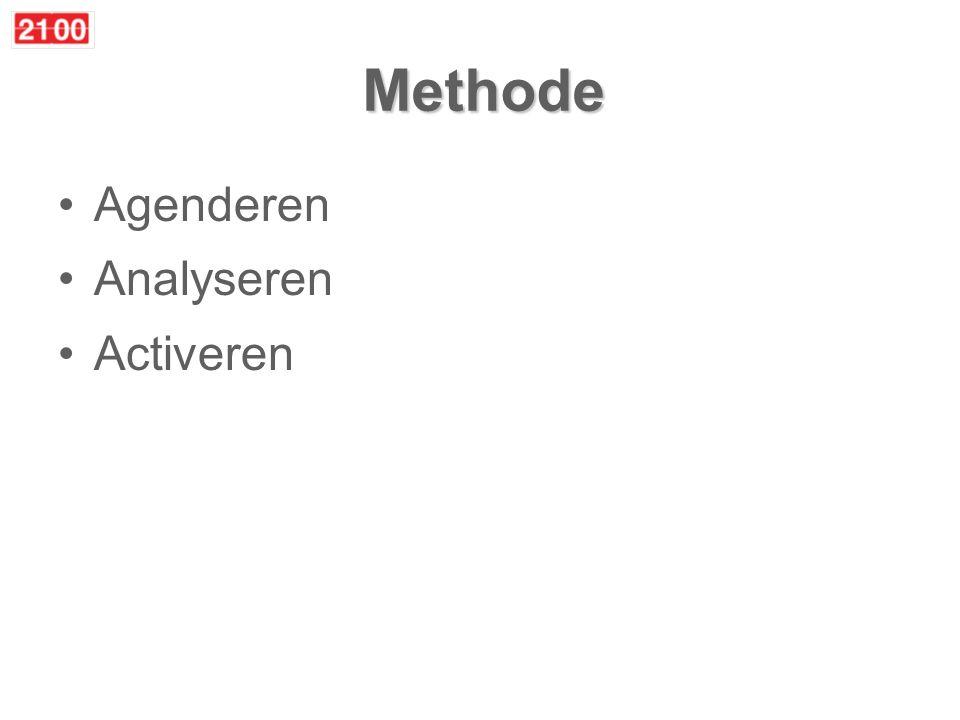 Methode Agenderen –Iedereen kan issues aandragen op www.2100web.nl –2100 redactieteam modereert, verzamelt argumenten, urgentie –Abonnees kiezen issue / redactie kiest issue (50/50) –Altijd beargumenteerd –2100 lanceert issue: hier moeten we nodig goed over nadenken Analyseren Activeren