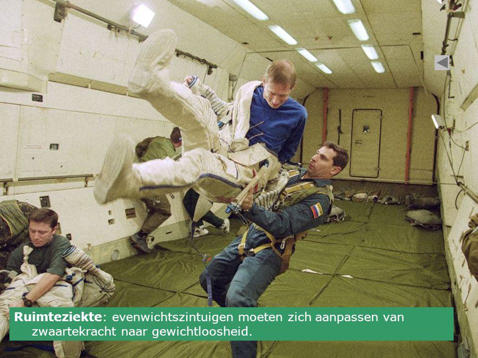 Ruimteziekte: evenwichtszintuigen moeten zich aanpassen van zwaartekracht naar gewichtloosheid.