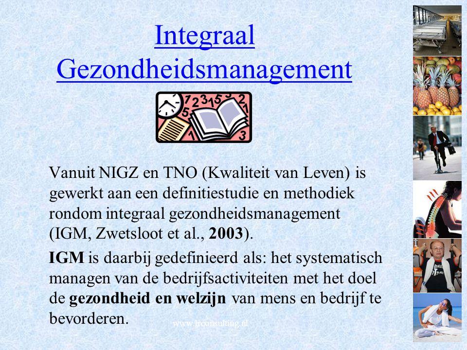 www.lrconsulting.nl Integraal Gezondheidsmanagement Vanuit NIGZ en TNO (Kwaliteit van Leven) is gewerkt aan een definitiestudie en methodiek rondom integraal gezondheidsmanagement (IGM, Zwetsloot et al., 2003).