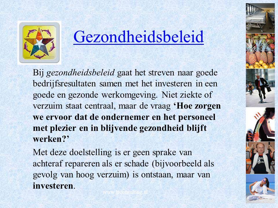 www.lrconsulting.nl Gezondheidsbeleid Bij gezondheidsbeleid gaat het streven naar goede bedrijfsresultaten samen met het investeren in een goede en gezonde werkomgeving.