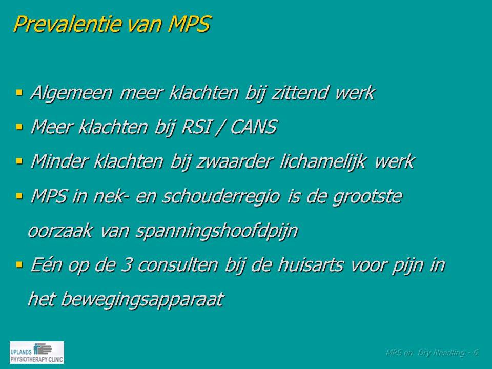 Oorzaken van MPS Oorzaken van MPS  Acuut trauma, bijv.