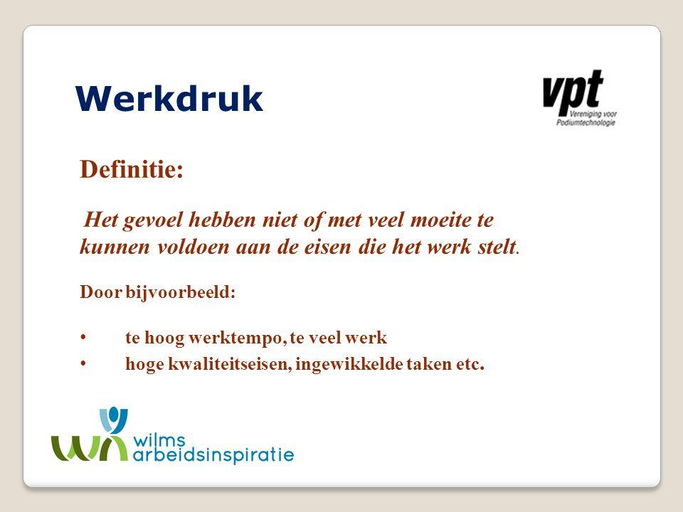 Werkdruk Definitie: Het gevoel hebben niet of met veel moeite te kunnen voldoen aan de eisen die het werk stelt. Door bijvoorbeeld: te hoog werktempo,