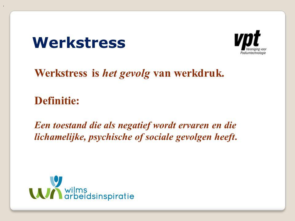 Werkstress Werkstress is het gevolg van werkdruk. Definitie: Een toestand die als negatief wordt ervaren en die lichamelijke, psychische of sociale ge