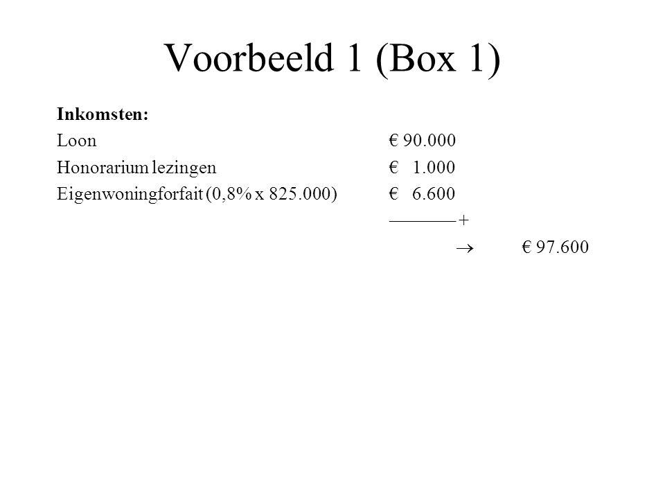Voorbeeld 1 (Box 1) Inkomsten: Loon€ 90.000 Honorarium lezingen€ 1.000 Eigenwoningforfait (0,8% x 825.000)€ 6.600 ––––––– +  € 97.600