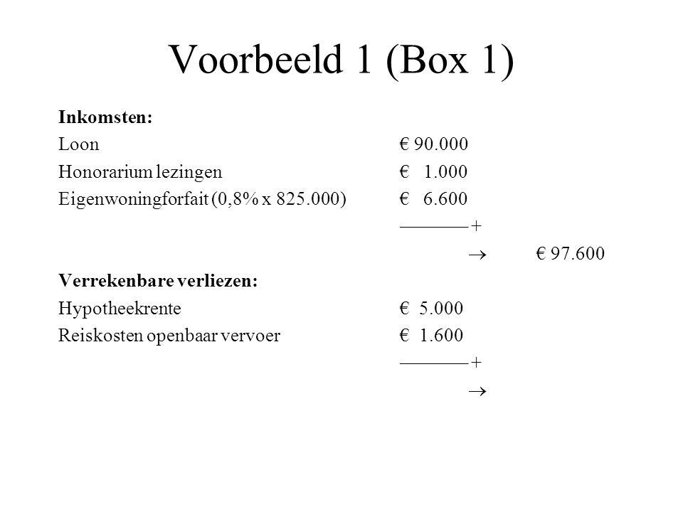Voorbeeld 1 (Box 1) Inkomsten: Loon€ 90.000 Honorarium lezingen€ 1.000 Eigenwoningforfait (0,8% x 825.000)€ 6.600 ––––––– +  € 97.600 Verrekenbare ve