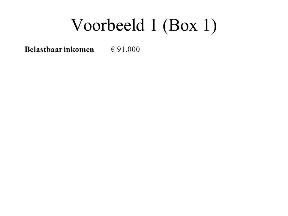 Voorbeeld 1 (Box 1) Belastbaar inkomen€ 91.000