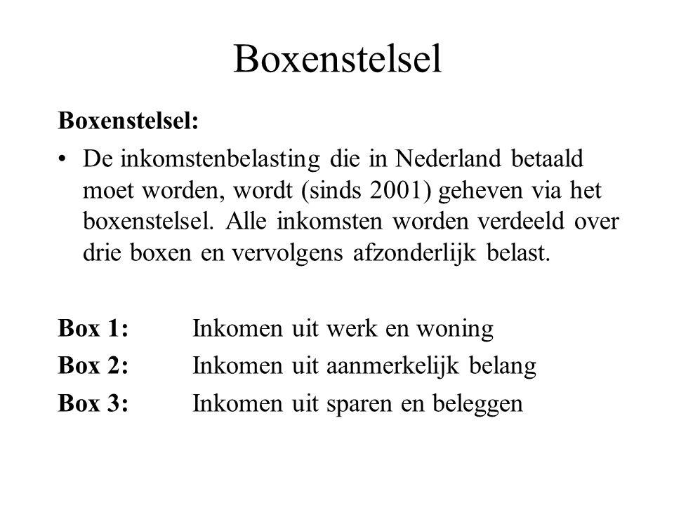Boxenstelsel Boxenstelsel: De inkomstenbelasting die in Nederland betaald moet worden, wordt (sinds 2001) geheven via het boxenstelsel. Alle inkomsten