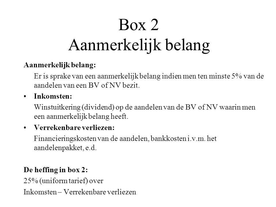 Box 2 Aanmerkelijk belang Aanmerkelijk belang: Er is sprake van een aanmerkelijk belang indien men ten minste 5% van de aandelen van een BV of NV bezi