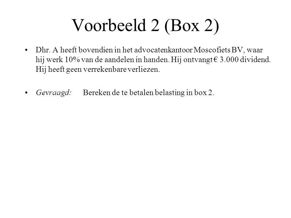 Voorbeeld 2 (Box 2) Dhr. A heeft bovendien in het advocatenkantoor Moscofiets BV, waar hij werk 10% van de aandelen in handen. Hij ontvangt € 3.000 di