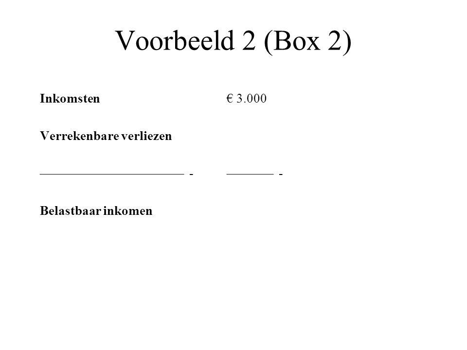 Voorbeeld 2 (Box 2) Inkomsten€ 3.000 Verrekenbare verliezen –––––––––––––––––––––– -––––––– - Belastbaar inkomen