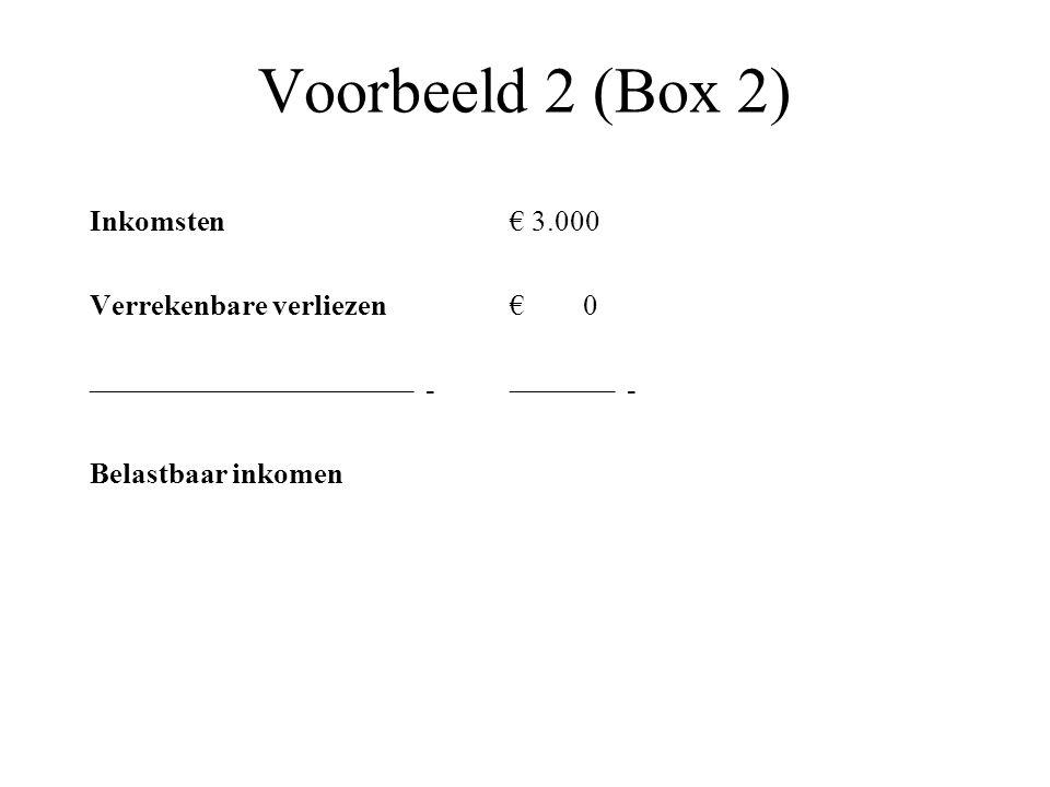 Voorbeeld 2 (Box 2) Inkomsten€ 3.000 Verrekenbare verliezen€ 0 –––––––––––––––––––––– -––––––– - Belastbaar inkomen