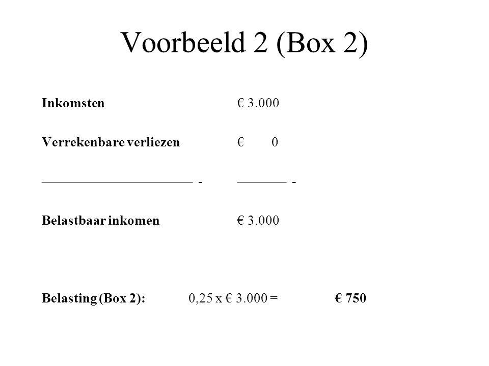 Voorbeeld 2 (Box 2) Inkomsten€ 3.000 Verrekenbare verliezen€ 0 –––––––––––––––––––––– -––––––– - Belastbaar inkomen € 3.000 Belasting (Box 2): 0,25 x