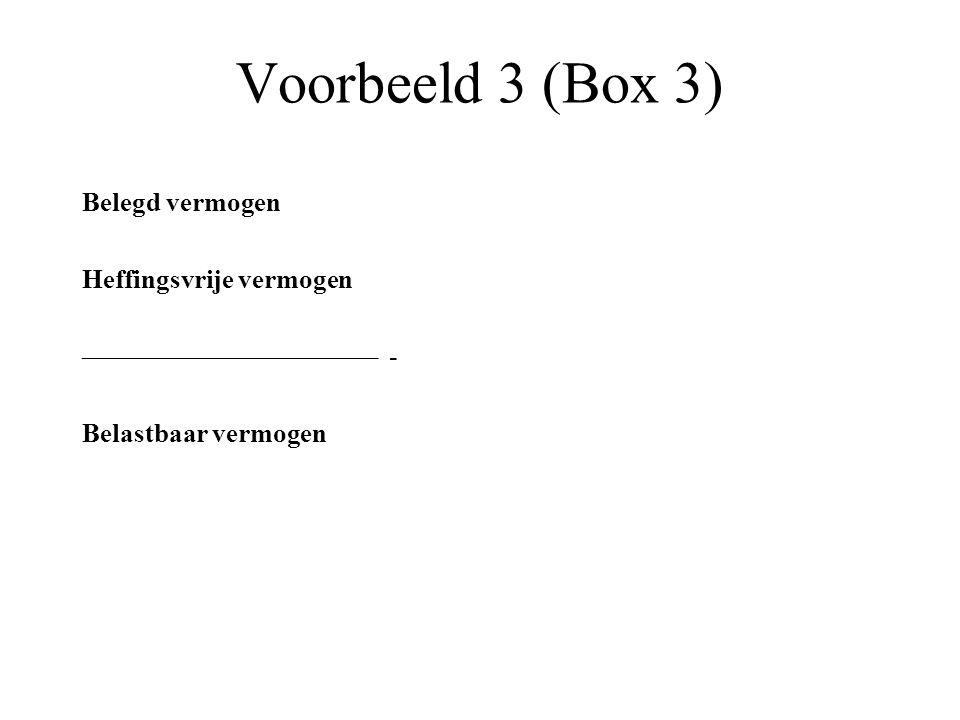 Voorbeeld 3 (Box 3) Belegd vermogen Heffingsvrije vermogen –––––––––––––––––––––– - Belastbaar vermogen
