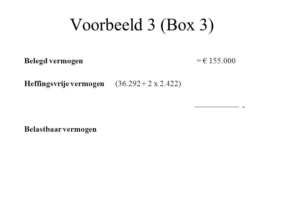 Voorbeeld 3 (Box 3) Belegd vermogen = € 155.000 Heffingsvrije vermogen (36.292 + 2 x 2.422) ––––––––––– - Belastbaar vermogen