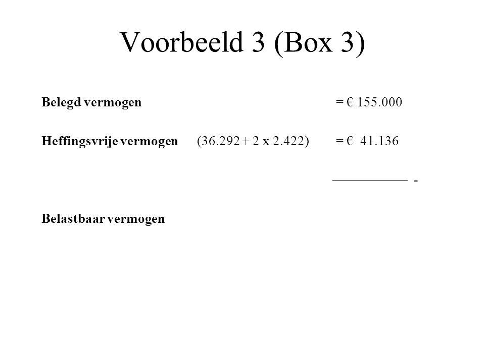 Voorbeeld 3 (Box 3) Belegd vermogen = € 155.000 Heffingsvrije vermogen (36.292 + 2 x 2.422) = € 41.136 ––––––––––– - Belastbaar vermogen