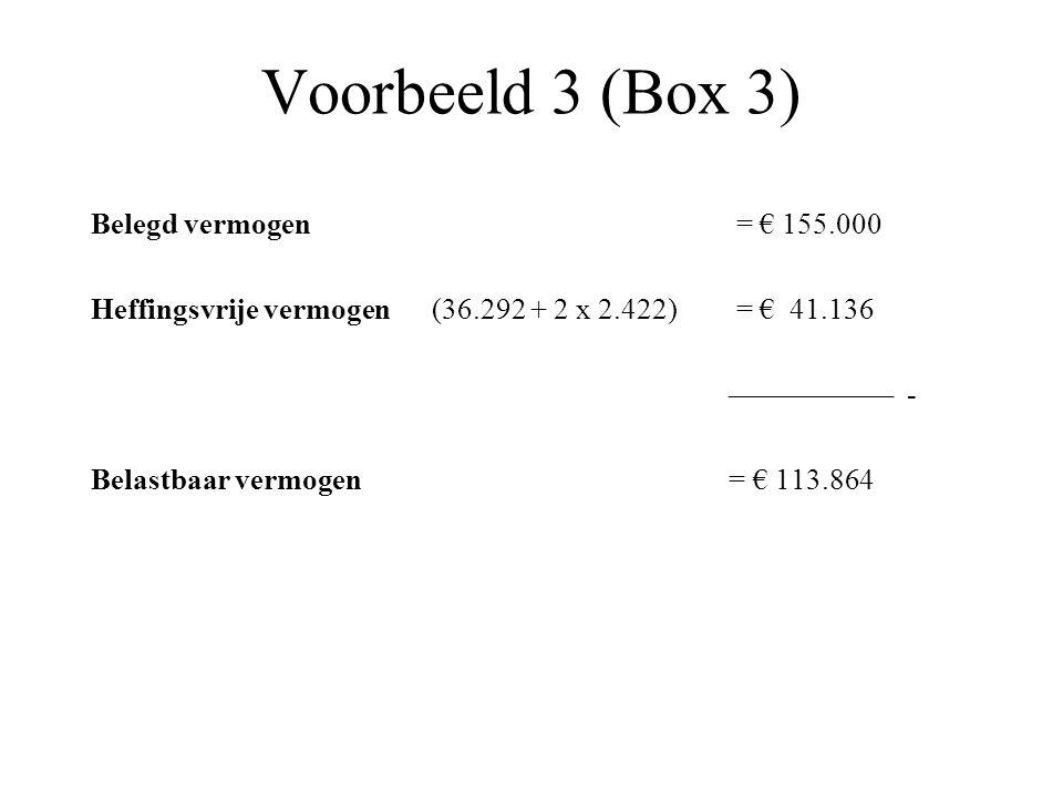 Voorbeeld 3 (Box 3) Belegd vermogen = € 155.000 Heffingsvrije vermogen (36.292 + 2 x 2.422) = € 41.136 ––––––––––– - Belastbaar vermogen = € 113.864