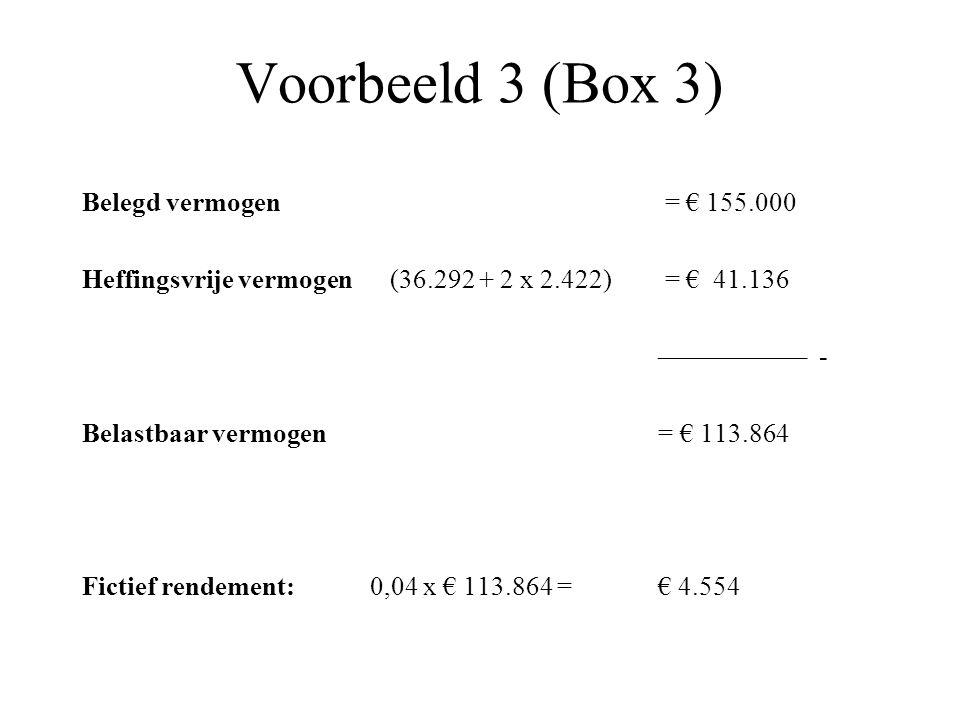 Voorbeeld 3 (Box 3) Belegd vermogen = € 155.000 Heffingsvrije vermogen (36.292 + 2 x 2.422) = € 41.136 ––––––––––– - Belastbaar vermogen = € 113.864 F