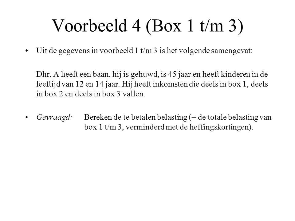 Voorbeeld 4 (Box 1 t/m 3) Uit de gegevens in voorbeeld 1 t/m 3 is het volgende samengevat: Dhr. A heeft een baan, hij is gehuwd, is 45 jaar en heeft k