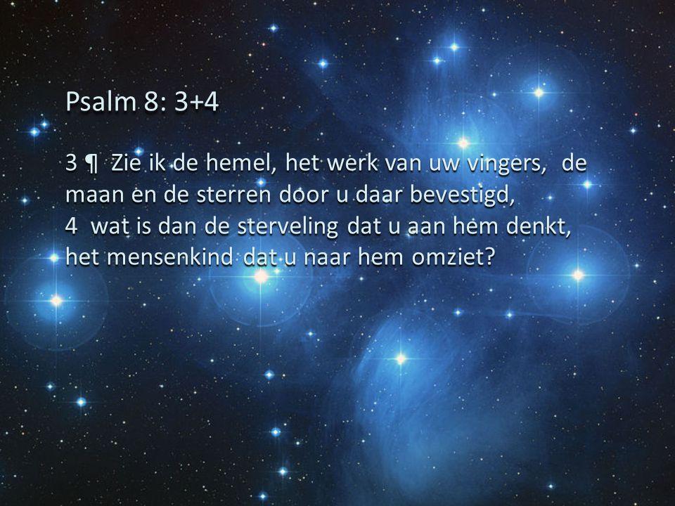 3 ¶ Zie ik de hemel, het werk van uw vingers, de maan en de sterren door u daar bevestigd, 4 wat is dan de sterveling dat u aan hem denkt, het mensenk
