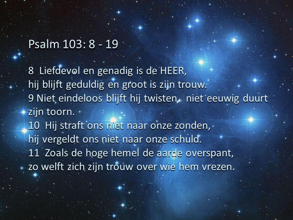 8 Liefdevol en genadig is de HEER, hij blijft geduldig en groot is zijn trouw. 9 Niet eindeloos blijft hij twisten, niet eeuwig duurt zijn toorn. 10 H