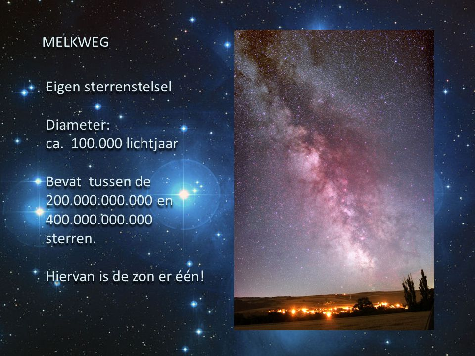 Eigen sterrenstelsel Diameter: ca. 100.000 lichtjaar Bevat tussen de 200.000.000.000 en 400.000.000.000 sterren. Hiervan is de zon er één! Eigen sterr