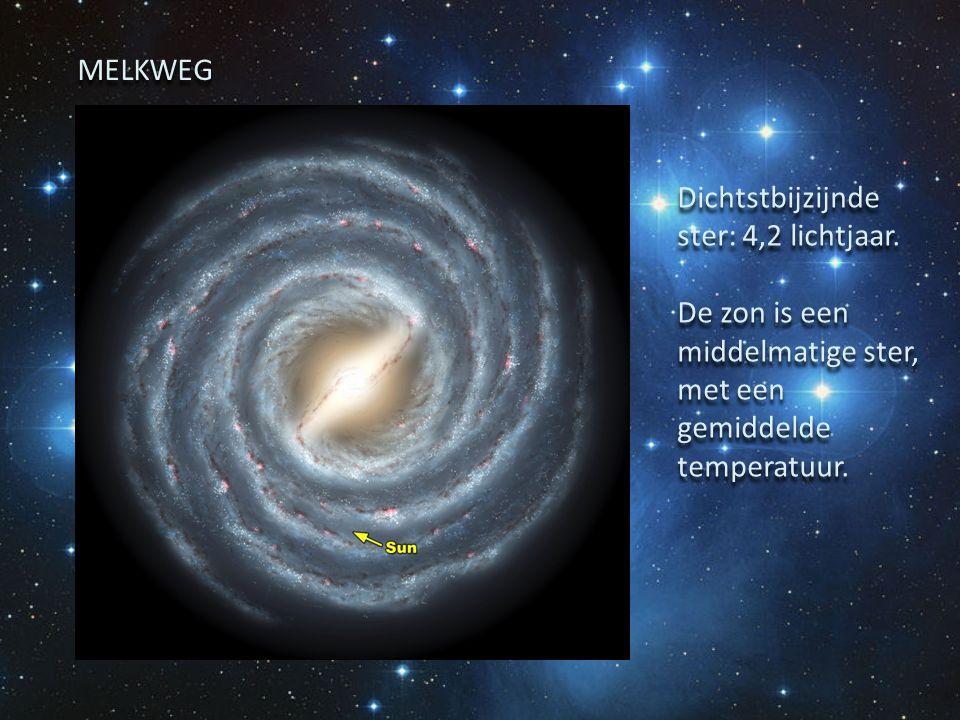 Dichtstbijzijnde ster: 4,2 lichtjaar. De zon is een middelmatige ster, met een gemiddelde temperatuur. Dichtstbijzijnde ster: 4,2 lichtjaar. De zon is