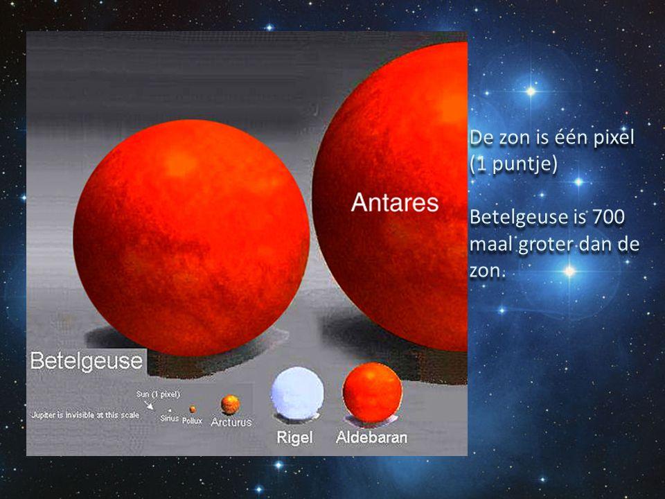 De zon is één pixel (1 puntje) Betelgeuse is 700 maal groter dan de zon. De zon is één pixel (1 puntje) Betelgeuse is 700 maal groter dan de zon.