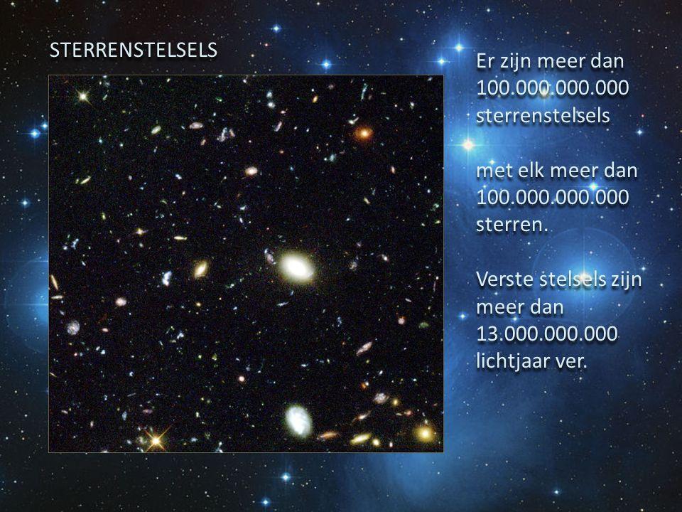 Er zijn meer dan 100.000.000.000 sterrenstelsels met elk meer dan 100.000.000.000 sterren. Verste stelsels zijn meer dan 13.000.000.000 lichtjaar ver.