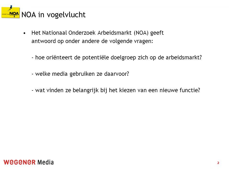 2 NOA in vogelvlucht Het Nationaal Onderzoek Arbeidsmarkt (NOA) geeft antwoord op onder andere de volgende vragen: - hoe oriënteert de potentiële doelgroep zich op de arbeidsmarkt.
