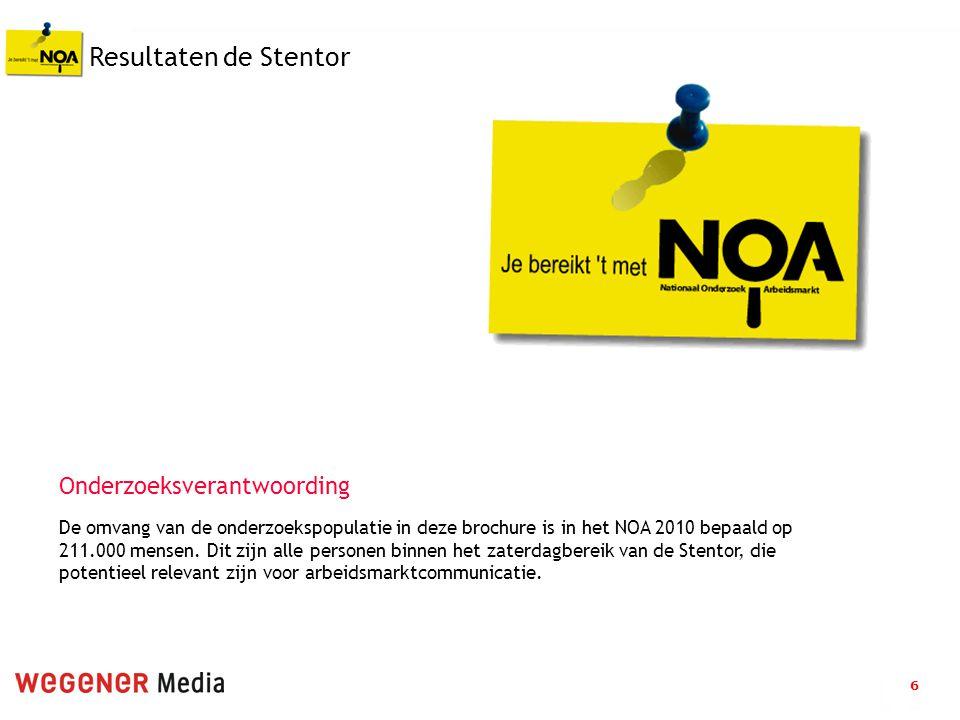 6 Resultaten de Stentor De omvang van de onderzoekspopulatie in deze brochure is in het NOA 2010 bepaald op 211.000 mensen.