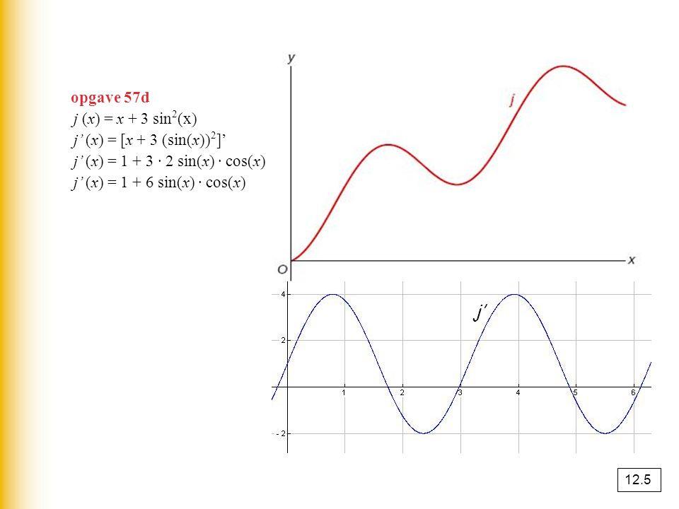 opgave 57d j (x) = x + 3 sin 2 (x) j' (x) = [x + 3 (sin(x)) 2 ]' j' (x) = 1 + 3 · 2 sin(x) · cos(x) j' (x) = 1 + 6 sin(x) · cos(x) j' 12.5