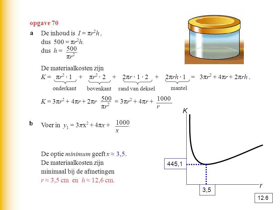 opgave 70 De inhoud is I = πr 2 h, dus 500 = πr 2 h. dus h = De materiaalkosten zijn K = πr 2 · 1 + πr 2 · 2 + 2πr · 1 · 2 + 2πrh · 1 = 3πr 2 + 4πr +