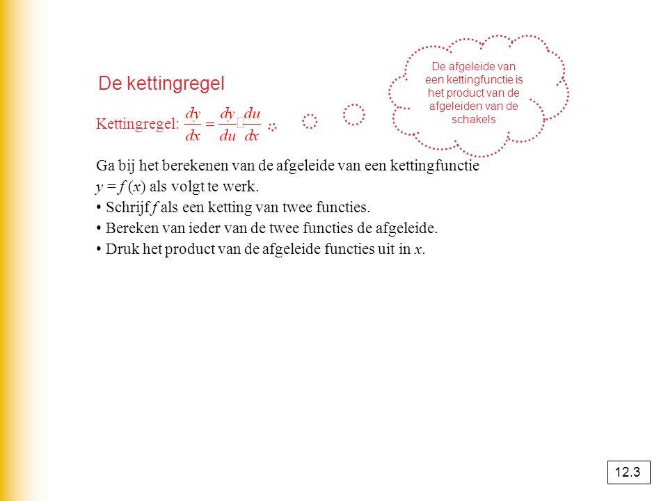 De kettingregel Kettingregel: Ga bij het berekenen van de afgeleide van een kettingfunctie y = f (x) als volgt te werk. Schrijf f als een ketting van