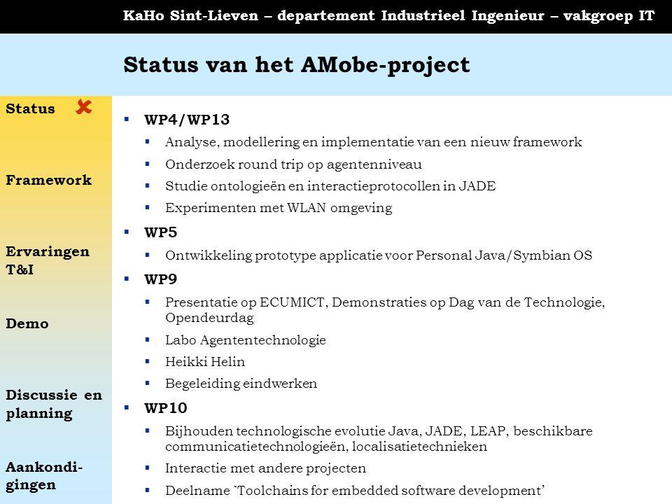 Status Framework Ervaringen T&I Demo Discussie en planning Aankondi- gingen KaHo Sint-Lieven – departement Industrieel Ingenieur – vakgroep IT Status