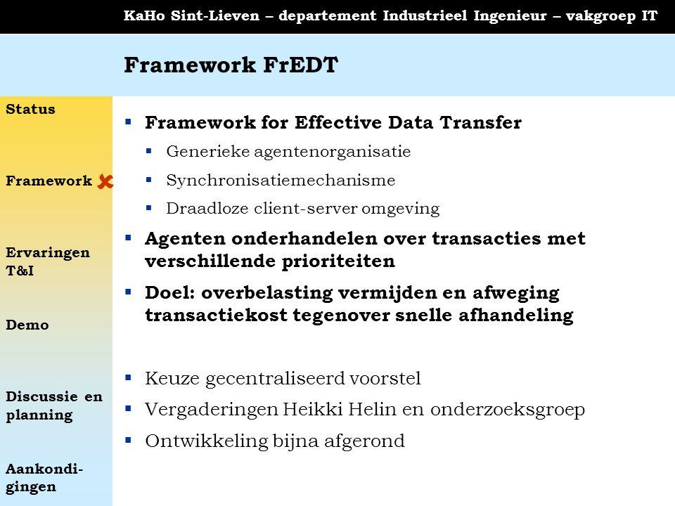 Status Framework Ervaringen T&I Demo Discussie en planning Aankondi- gingen KaHo Sint-Lieven – departement Industrieel Ingenieur – vakgroep IT Framewo