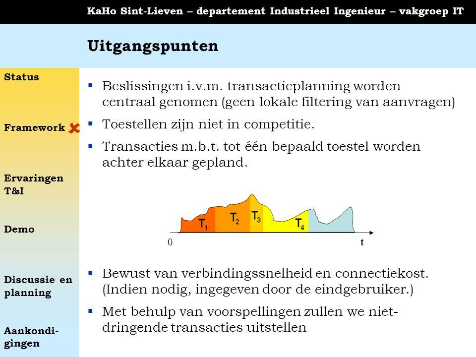 Status Framework Ervaringen T&I Demo Discussie en planning Aankondi- gingen KaHo Sint-Lieven – departement Industrieel Ingenieur – vakgroep IT Uitgang