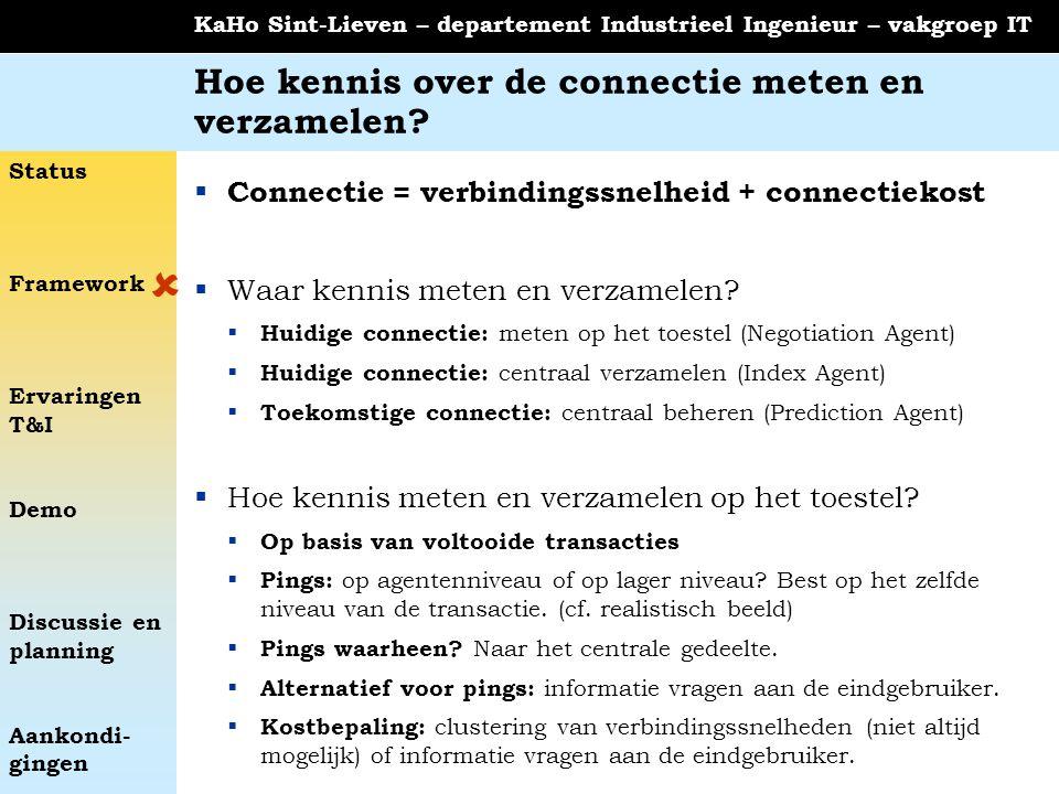 Status Framework Ervaringen T&I Demo Discussie en planning Aankondi- gingen KaHo Sint-Lieven – departement Industrieel Ingenieur – vakgroep IT Hoe ken