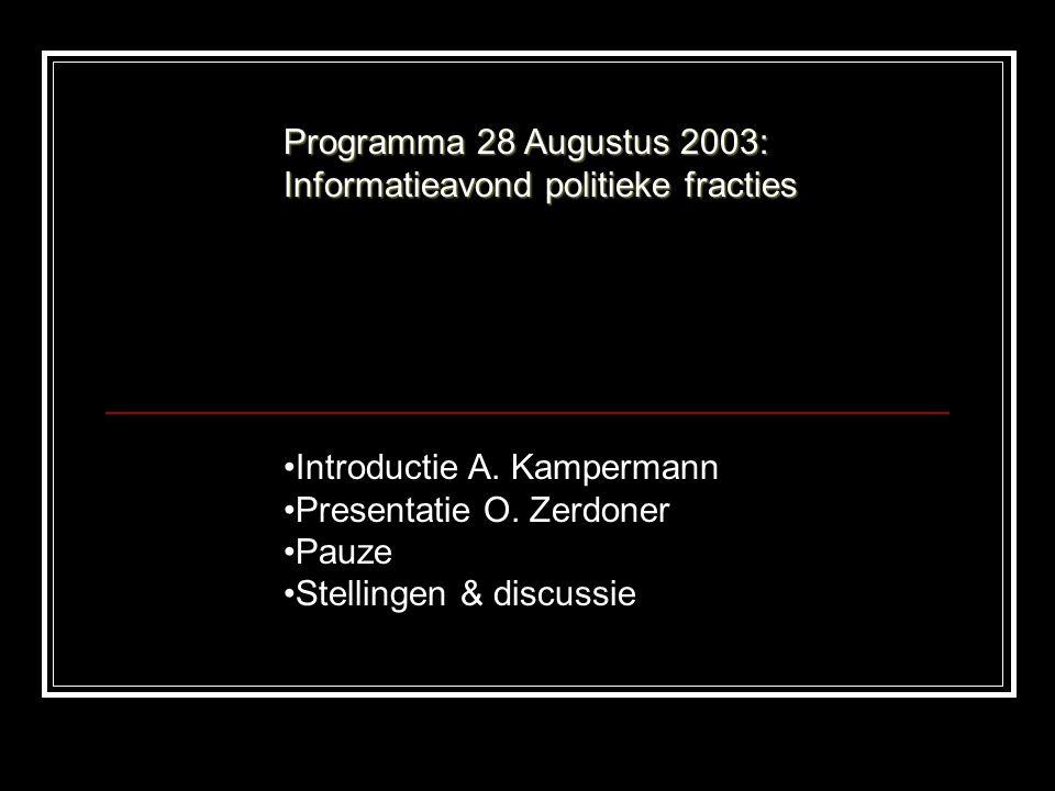 Programma 28 Augustus 2003: Informatieavond politieke fracties Introductie A.