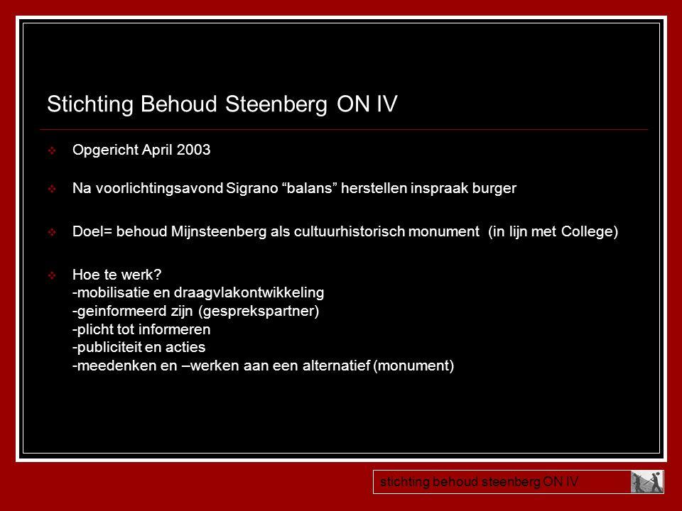 Stichting Behoud Steenberg ON IV  handtekeningenactie stichting behoud steenberg ON IV