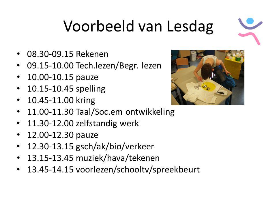 Voorbeeld van Lesdag 08.30-09.15 Rekenen 09.15-10.00 Tech.lezen/Begr. lezen 10.00-10.15 pauze 10.15-10.45 spelling 10.45-11.00 kring 11.00-11.30 Taal/