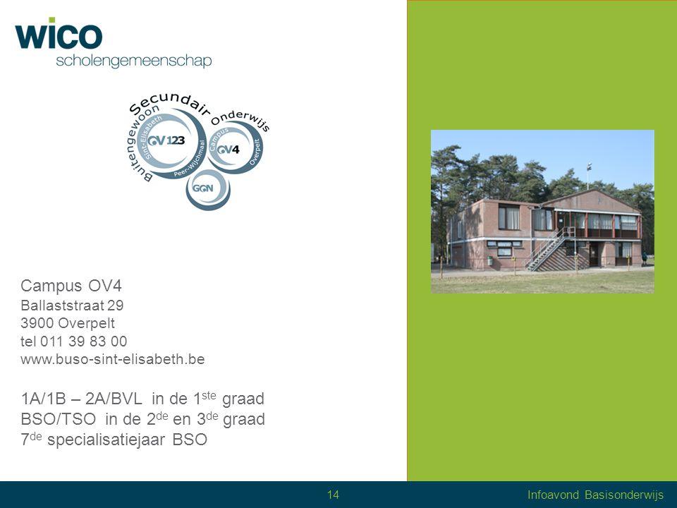 Campus OV4 Ballaststraat 29 3900 Overpelt tel 011 39 83 00 www.buso-sint-elisabeth.be 1A/1B – 2A/BVL in de 1 ste graad BSO/TSO in de 2 de en 3 de graad 7 de specialisatiejaar BSO 14Infoavond Basisonderwijs