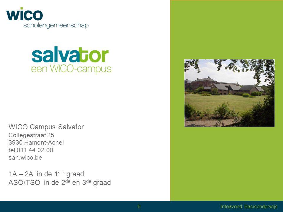 WICO Campus Salvator Collegestraat 25 3930 Hamont-Achel tel 011 44 02 00 sah.wico.be 1A – 2A in de 1 ste graad ASO/TSO in de 2 de en 3 de graad Info stage 6Infoavond Basisonderwijs