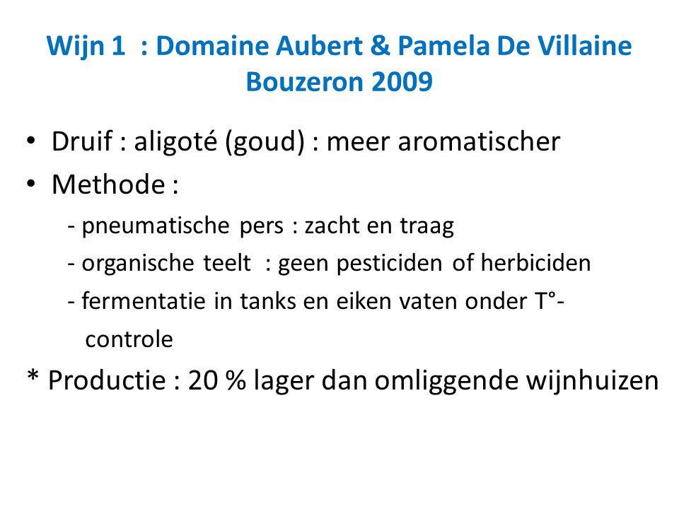Wijn 1 : Domaine Aubert & Pamela De Villaine Bouzeron 2009 Druif : aligoté (goud) : meer aromatischer Methode : - pneumatische pers : zacht en traag - organische teelt : geen pesticiden of herbiciden - fermentatie in tanks en eiken vaten onder T°- controle * Productie : 20 % lager dan omliggende wijnhuizen