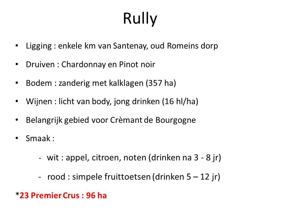 Rully Ligging : enkele km van Santenay, oud Romeins dorp Druiven : Chardonnay en Pinot noir Bodem : zanderig met kalklagen (357 ha) Wijnen : licht van body, jong drinken (16 hl/ha) Belangrijk gebied voor Crèmant de Bourgogne Smaak : - wit : appel, citroen, noten (drinken na 3 - 8 jr) - rood : simpele fruittoetsen (drinken 5 – 12 jr) *23 Premier Crus : 96 ha