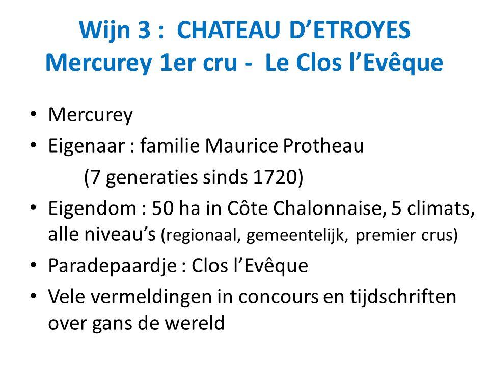 Wijn 3 : CHATEAU D'ETROYES Mercurey 1er cru - Le Clos l'Evêque Mercurey Eigenaar : familie Maurice Protheau (7 generaties sinds 1720) Eigendom : 50 ha in Côte Chalonnaise, 5 climats, alle niveau's (regionaal, gemeentelijk, premier crus) Paradepaardje : Clos l'Evêque Vele vermeldingen in concours en tijdschriften over gans de wereld