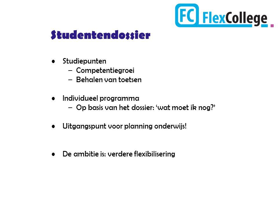 Studentendossier Studiepunten –Competentiegroei –Behalen van toetsen Individueel programma –Op basis van het dossier: 'wat moet ik nog?' Uitgangspunt