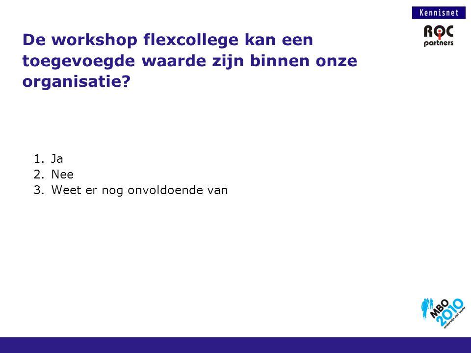 De workshop flexcollege kan een toegevoegde waarde zijn binnen onze organisatie? 1.Ja 2.Nee 3.Weet er nog onvoldoende van